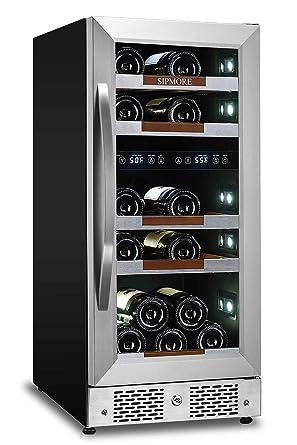 Sipmore refrigerador de vino de 15 pulgadas, doble zona 21 botella ...