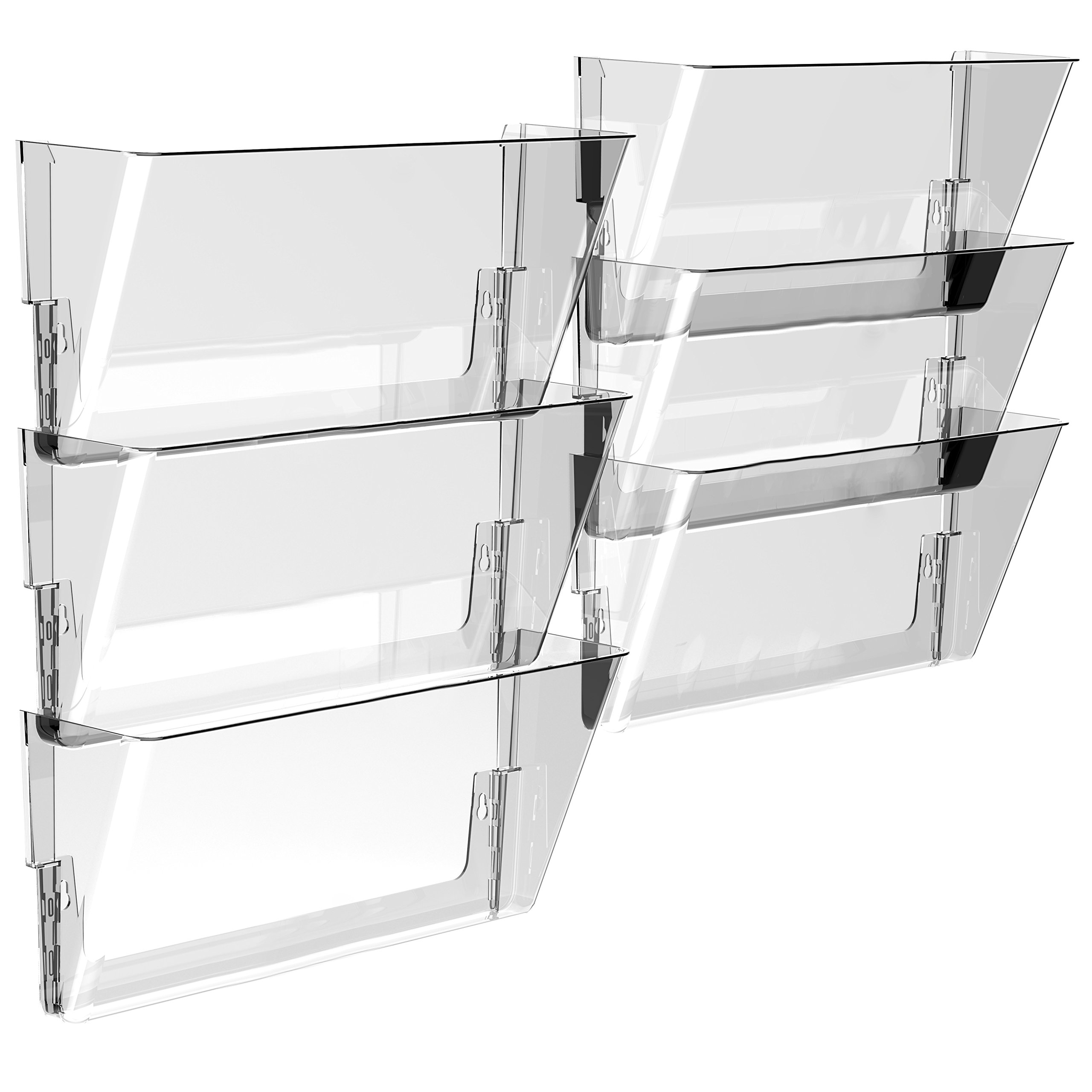 Storex Wall File, 16 x 4 x 7 Inches, Legal, Clear, Case of 6 (70207U06C)