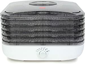 Ronco Turbo EZ-Store 5-Tray Dehydrator with Convection Air Flow, Food Preserver Adjustable Temperature Control, Quiet Operation, for Jerky, Fruits, Vegetables, Herbs, White