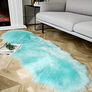 Ashler Soft Faux Sheepskin Fur Chair Couch Cover Area Rug for Bedroom Floor Sofa Living Room Turquoise 2 x 6 Feet