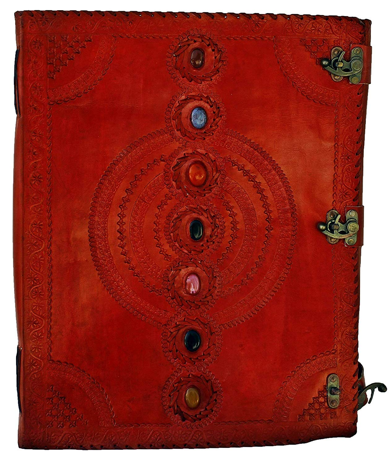 TUZECH Seven Chakra Medieval Stone Embossed Handmade Jumbo Leather Journal Book of Shadows Notebook Office Diary College Poetry Sketch 18 Inches (Red)