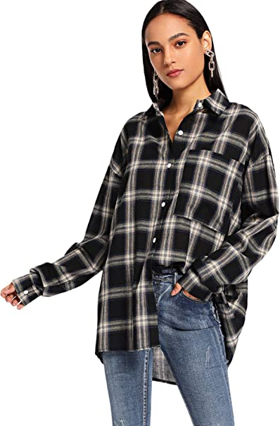 SweatyRocks Women's Long Sleeve Collar Long Button Down Plaid Shirt Blouse Tops