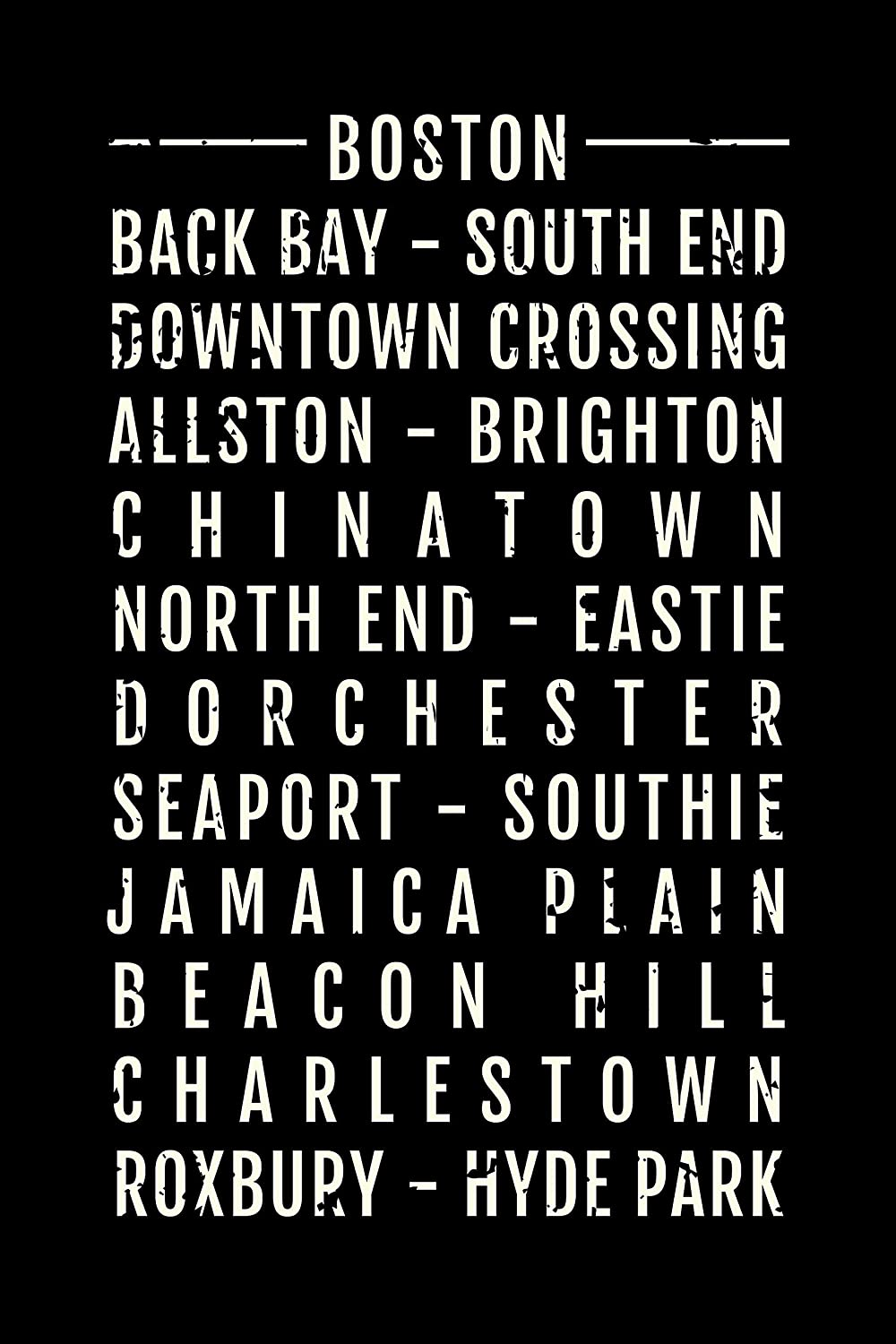 Boston Subway Map Poster.Amazon Com Boston Print Neighborhood City Map Subway Poster
