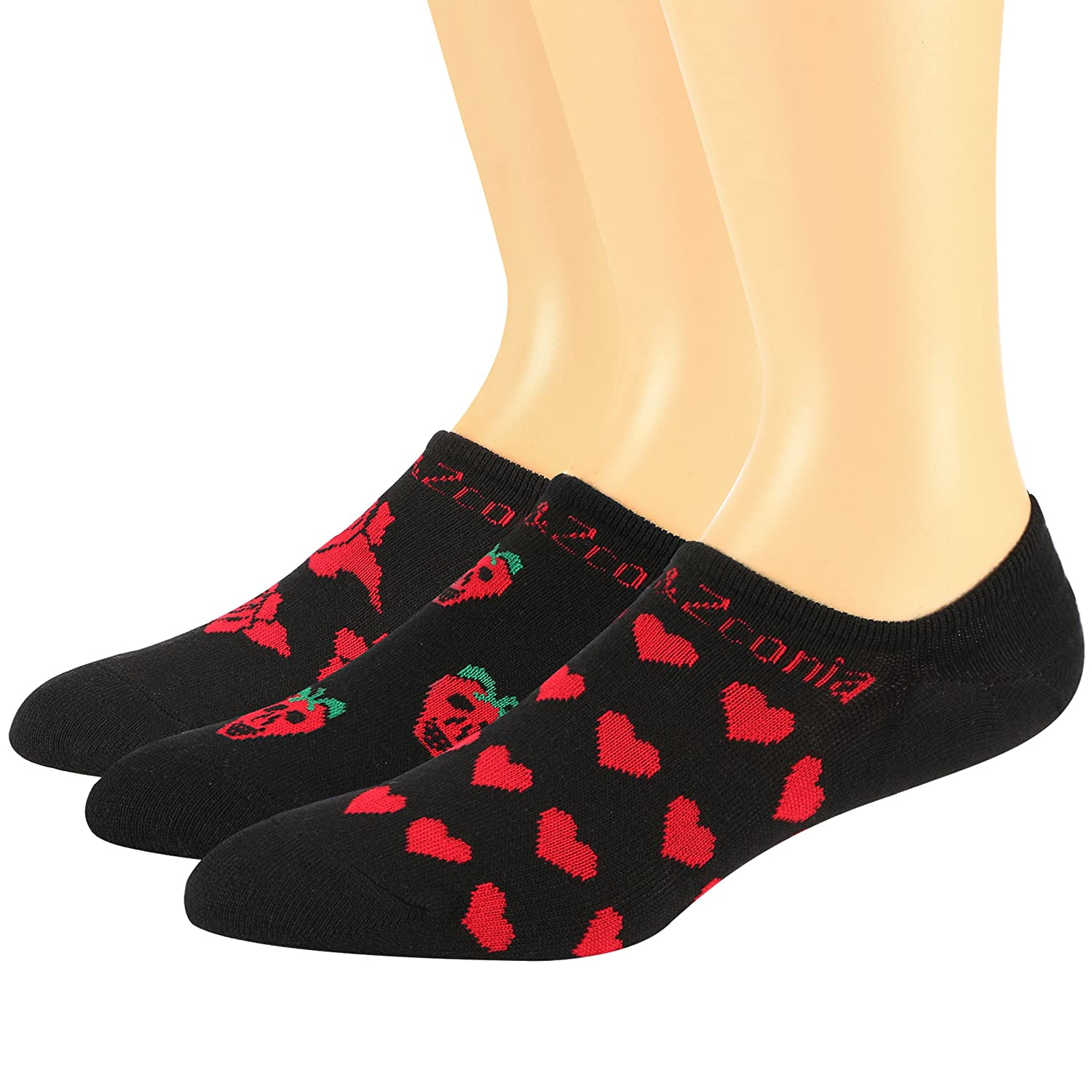 OnceMeet Womens No Show Low Cut Sweat Absorbing Non-Slip Socks Hearts//Roses//Skulls Patterns Valentines 6Pack