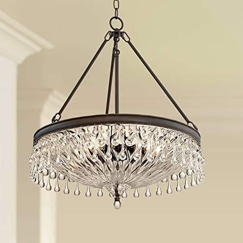 Macey Bronze Chandelier 20 1/4″ Wide Clear Crystal Bowl