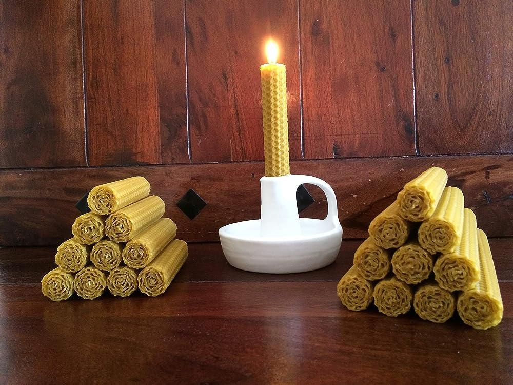 20uni Velas cera de Abeja naturales 10x2cm/20x2cm. Pure Beeswax Candles: Amazon.es: Handmade