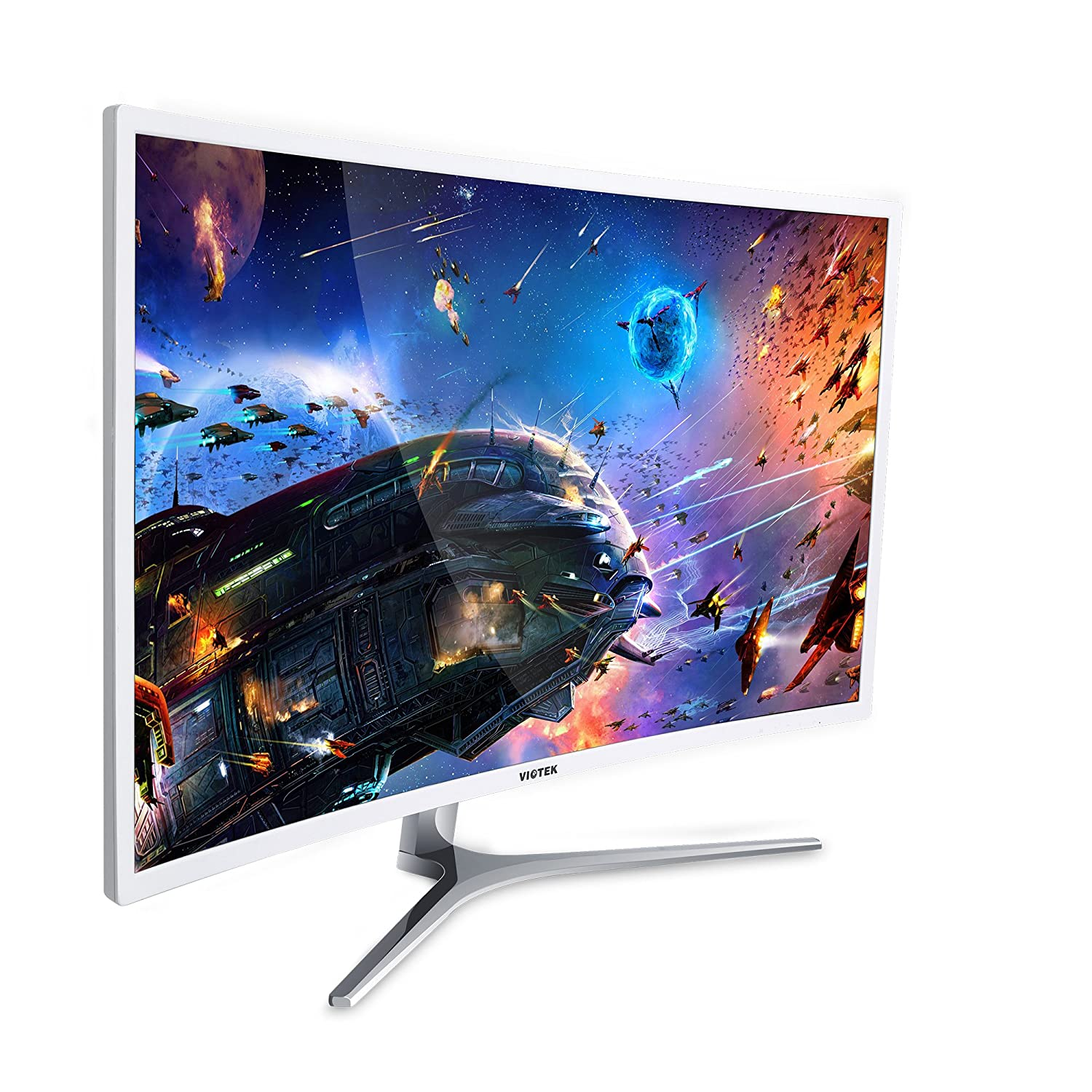 Viotek 32 inch LED Curved Computer Monitor with Speakers - 1920x1080p Full HD, VGA DVI and HDMI, 1800R Curvature, Model NB32C