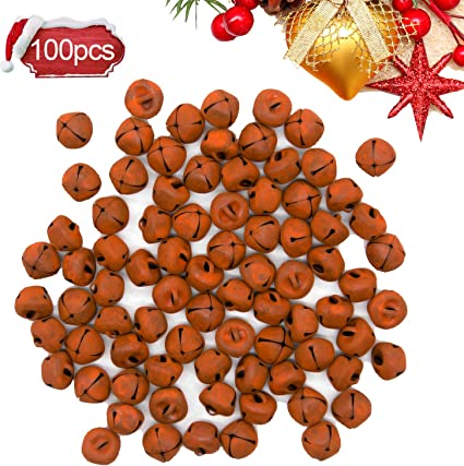 Alpurple 100 PCS Rusty Metal Jingle Bells-15mm//0.6Inch DIY Craft Bells,Vintage Rusty Jingle for Christmas,Wreath,Holiday and Rustic Country Craft Decorations