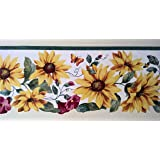 Wallpaper Border Sunflowers & Red Morning Glories with Green Vine on White