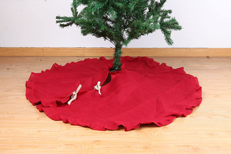 Burlap Tree Skirt with Ruffles Holiday Christmas Décor, 47-Inch (Original Burlap) Oytin