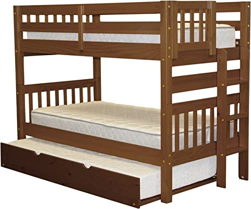 Bedz King Bunk Bed Twin over Twin with End Ladder and a Twin Trundle, Espresso
