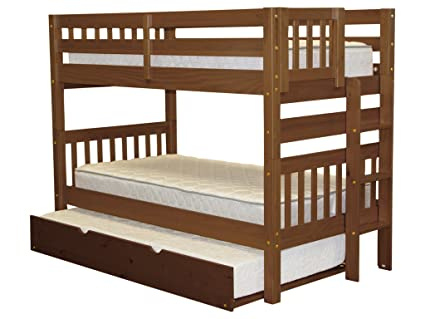 Amazon Com Bedz King Bunk Beds Twin Over Twin Mission Style With