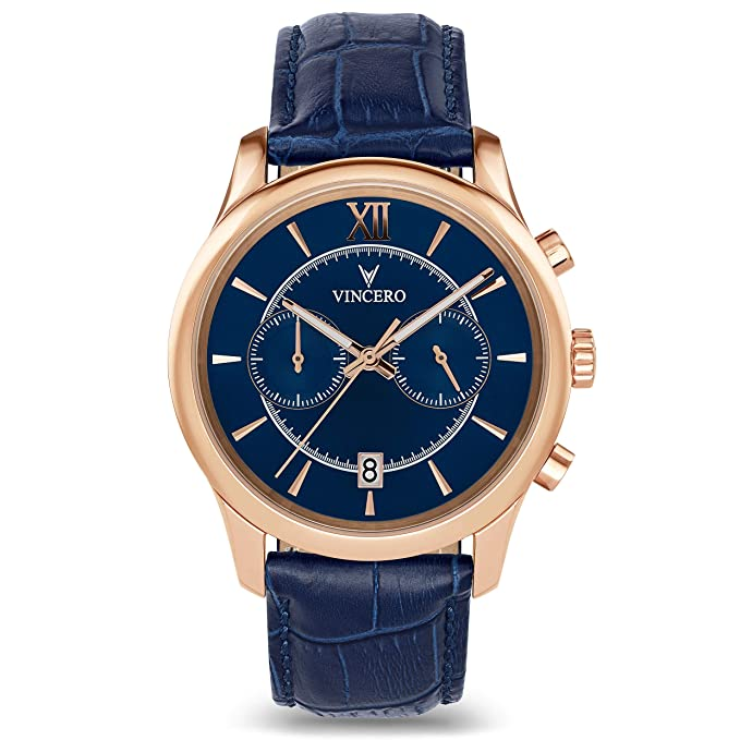 Vincero Luxury Men's Bellwether Leather Wrist Watch - 43mm Chronograph Watch - Japanese Quartz Movement (Rose Gold/Blue)