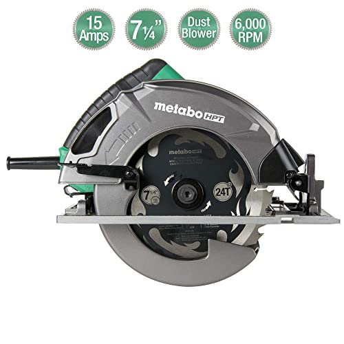 Metabo HPT 7-1 4 Circular Saw Kit, 6,000 Rpm, 15-Amp Motor, Integrated Dust Blower, 24T Premium Framing Ripping Blade, Single Handed Bevel Adjustment C7SB3