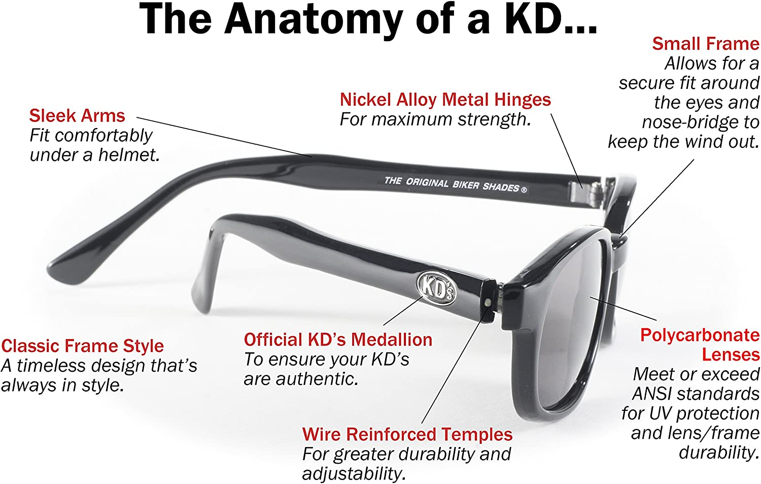 KD/'s 1 Pair Matte Black Polarized Gray Lens Old School Biker Sunglasses 20019