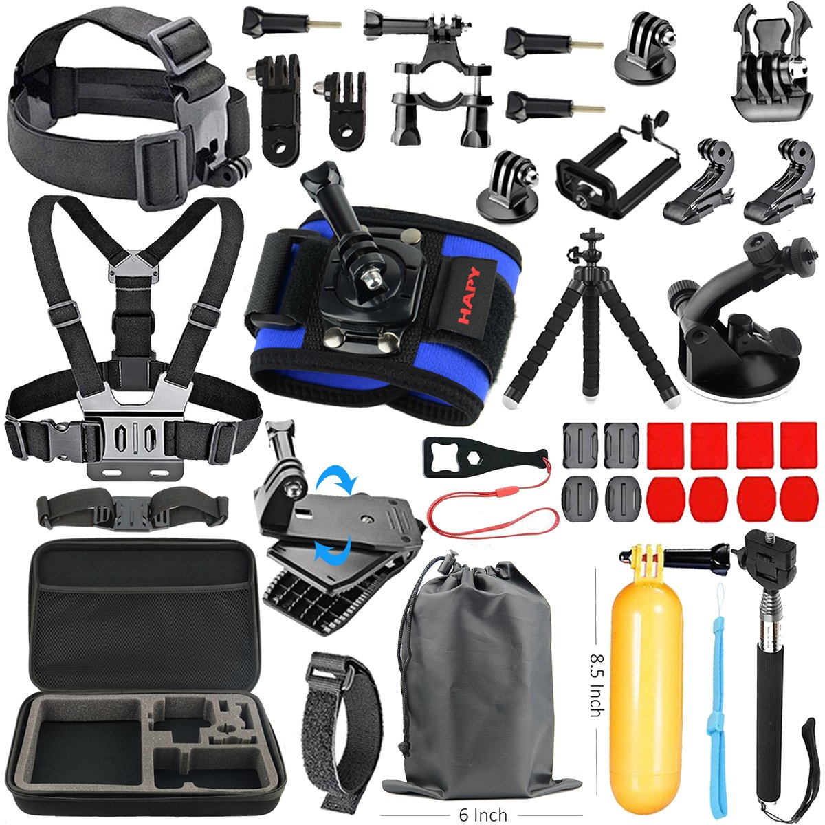 HAPY Sports Action Professional Video Camera Accessory Kit for GoPro Hero6,5 Black, Hero Session,HERO (2018),HERO 6,5,4,3,3+, GoPro Fusion,SJCAM,AKASO,Xiaomi,DBPOWER,Camera Kit
