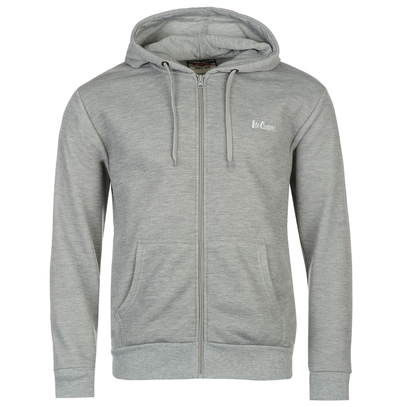 2e78a21579 Lee Cooper Full Zip Hoody Mens Grey Hoodie Hooded Jacket Sweatshirt Top:  Amazon.co.uk: Clothing
