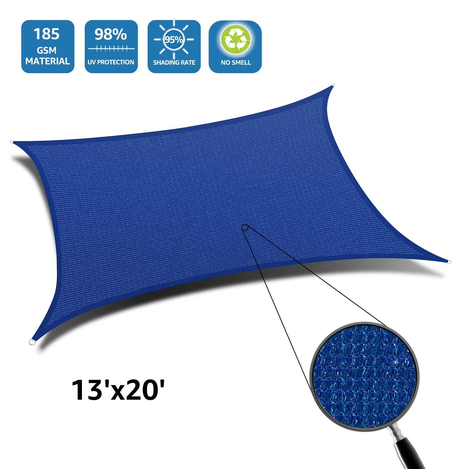 DOEWORKS Rectangle 13' X 20' Sun Shade Sail, UV Block for Outdoor Patio Garden Facility and Activities, Blue by DOEWORKS