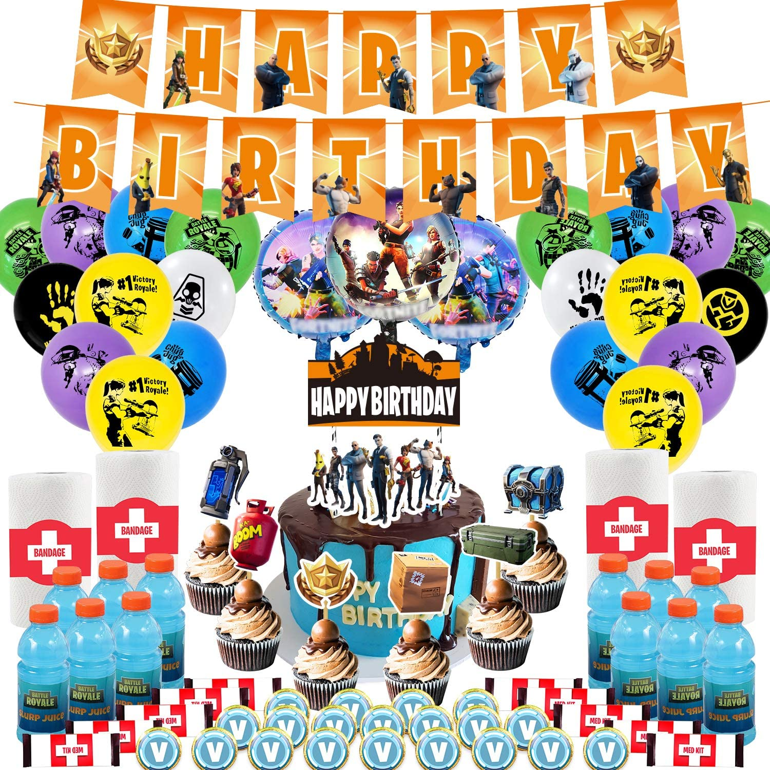 Birthday Party Supplies for Game Fans, 98 pcs Video Game Party Supplies, Birthday Party Decorations - Cake Topper, Bottle Label, Chocolate Sticker, Latex Balloon, Foil Balloon, Roll Paper Sticker, Banner