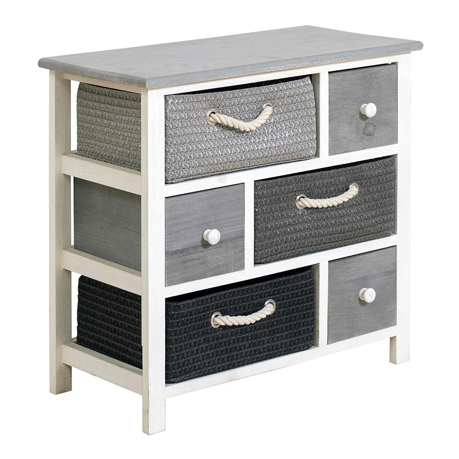 Rebecca srl Chest of Drawers Cabinet 6 Drawers REBECCA VIMINI Wood Wicker White Grey Modern Bedroom Living Room (Cod. RE4326)
