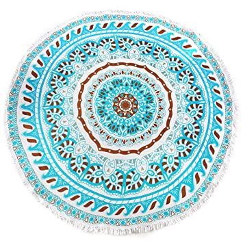 Microfibra Impresión Circular Pulido Toallas De Playa Hogar Estera De Yoga Suave Toalla De Playa Redonda,Blue-Diameter150cm: Amazon.es: Hogar
