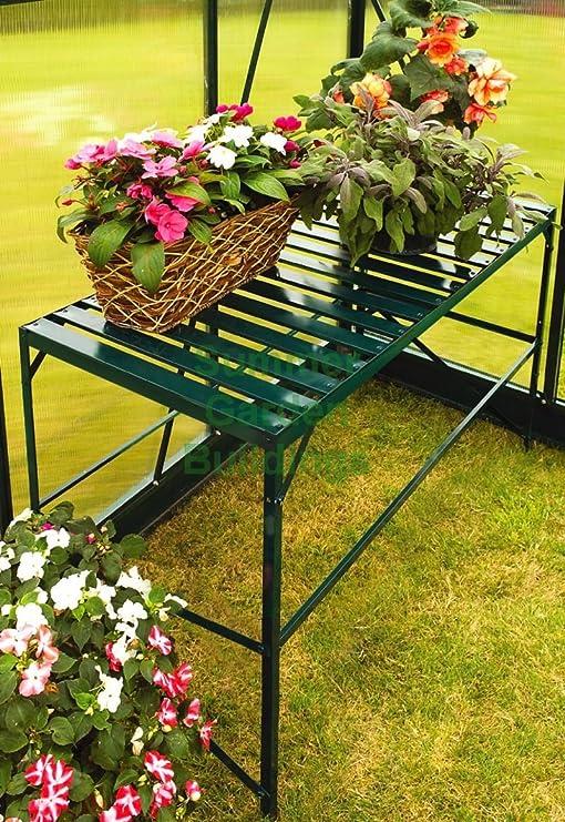 Summer Garden Buildings – Invernadero de Aluminio Estante con Mesa de almacenaje con Listones y Banco de Trabajo, Color Verde: Amazon.es: Jardín