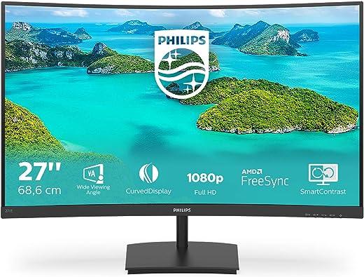 """Philips Monitor Gaming 271E1SCA Monitor, Adaptive Sync 75 Hz, VA LED 27"""", 1920 x 1080 FHD, 4 ms, HDMI, VGA, Casse Integrate, Flicker Free, Low Blue Light, VESA, Nero"""
