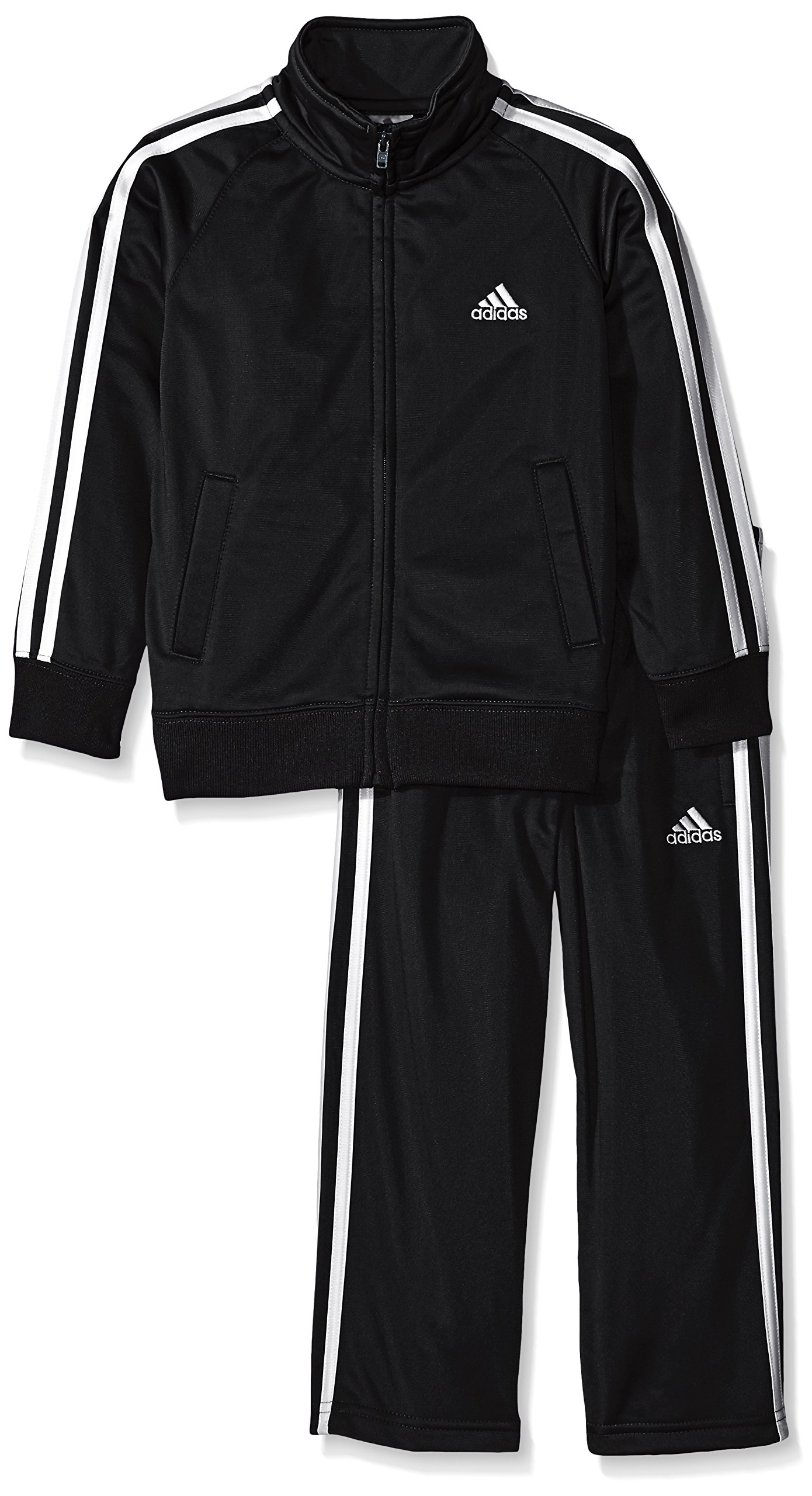 adidas Little Boys' Iconic Tricot Jacket and Pant Set, Black/White, 5 by adidas