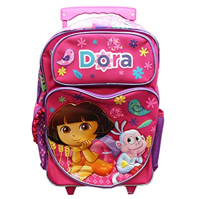 Full Size Pink Dora the Explorer and Boots Pose Rolling Backpack Luggage: Clothing