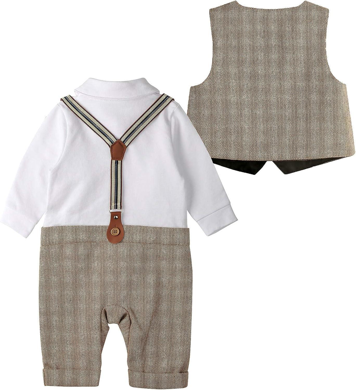 Weste Taufe Junge 3tlg with Fliege Hut Gentleman Langarm Anzug Outfit f/ür Festlich Geburtstag Hochzeit SANMIO Baby Jungen Bekleidung Set