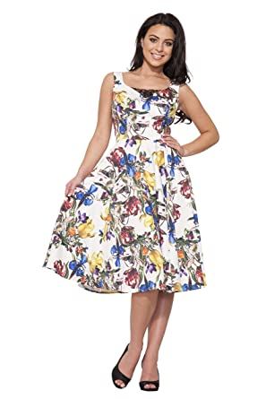 d12016f624ca Hearts & Roses of London Spring Fever Floral Swing Dress (White, 12 ...