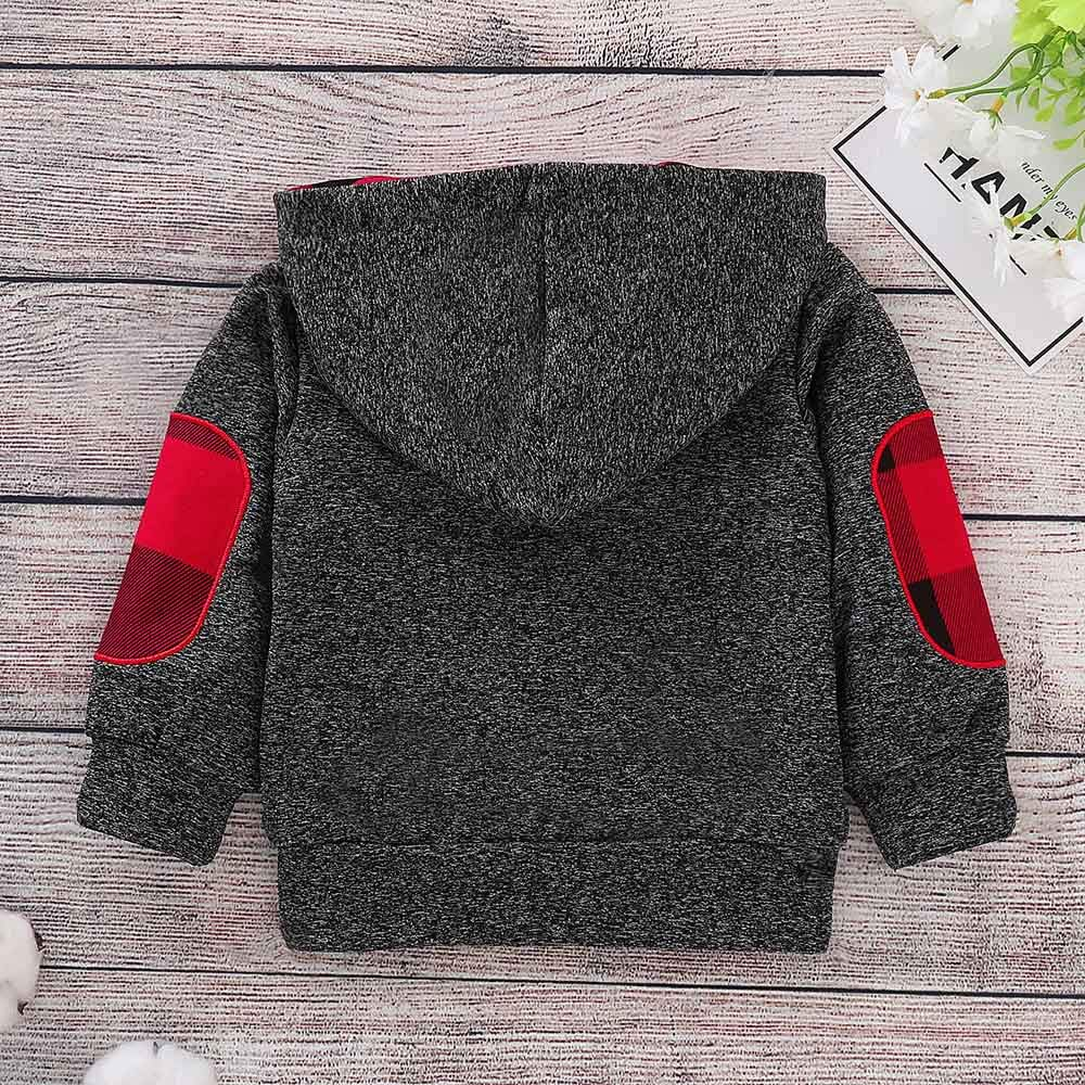 XUANOU Infant Baby Boys Girls Plaid Hooded Zipper Tops Sweatshirt Warm Coat Outf