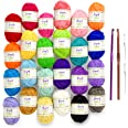 Mira Handcrafts 24 Acrylic Yarn Skeins   Total of 525 Yards Craft Yarn for Knitting and Crochet   Includes 2 Crochet Hooks, 2
