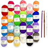 Mira Handcrafts 24 Acrylic Yarn Skeins | Total of 525 Yards Craft Yarn for Knitting and Crochet | Includes 2 Crochet Hooks, 2