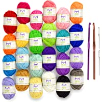 Mira Handcrafts 24 Acrylic Yarn Skeins | Total of 525 Yards Craft Yarn for Knitting and Crochet | Includes 2 Crochet…