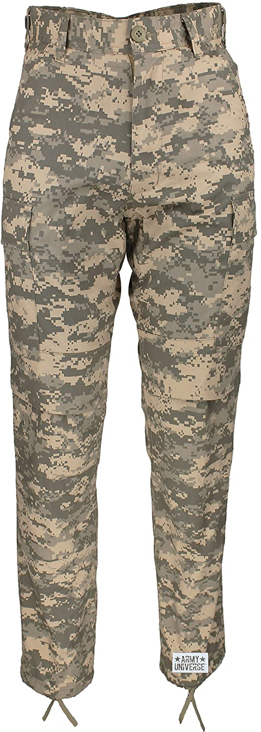 Army Universe Mens ACU Digital Camouflage Poly/Cotton Military BDU Army Fatigues Cargo Pants with Official Pin