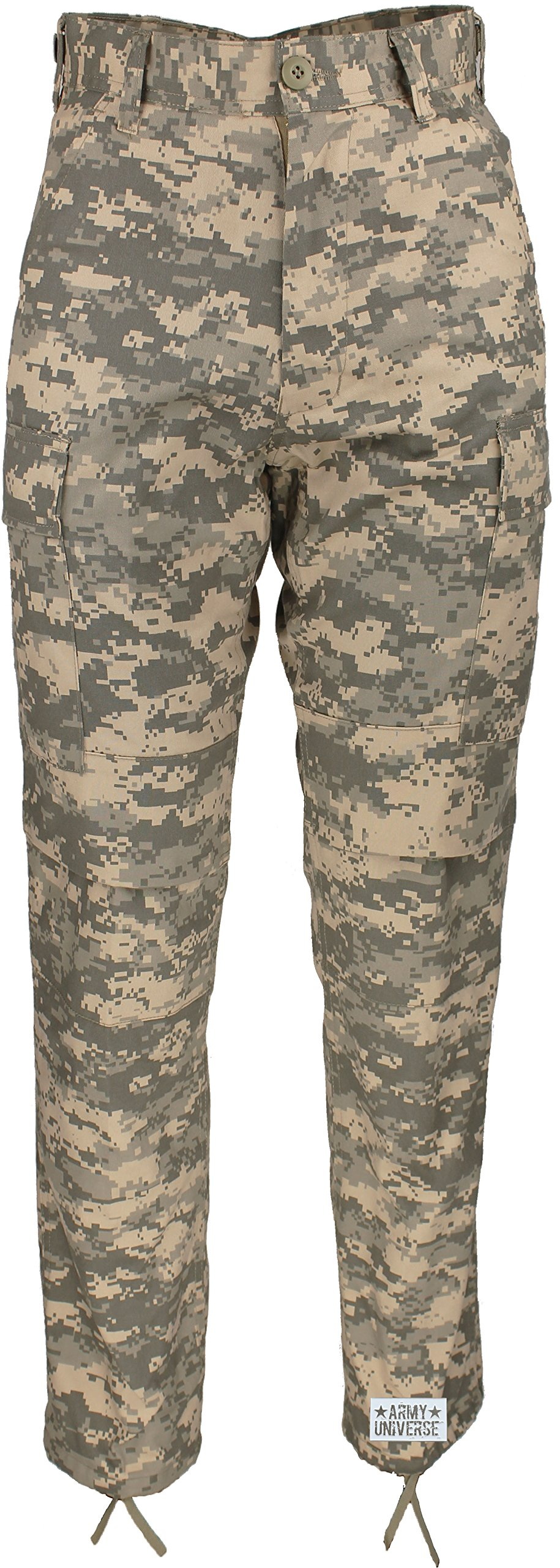 Army Universe Mens ACU Digital Camouflage Poly/Cotton Military BDU Army Fatigues Cargo Pants with Official Pin (W 39-43 - I 29.5-32.5 - X-Large Reg)