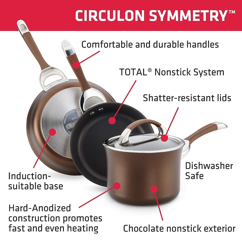 Chef Pan Meyer 82899 Circulon Symmetry Chocolate Hard Anodized Nonstick 4.5-Qt