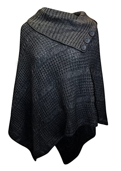 Womens Big Plus Size Cable Knitted 3 Button Cape Poncho At Amazon