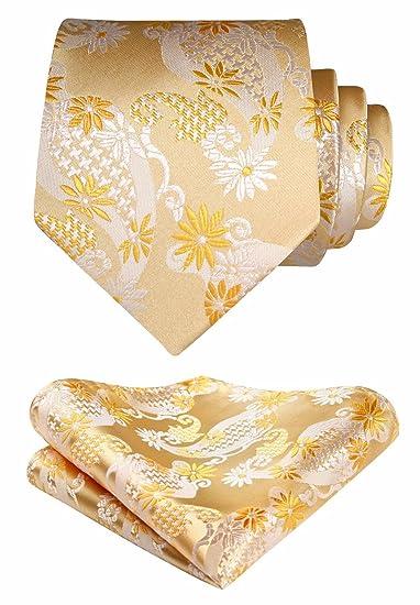 83462f0fcbd0 HISDERN Men's Paisley Wedding Party Tie Handkerchief Flower Necktie & Pocket  Square Set Beige/Yellow