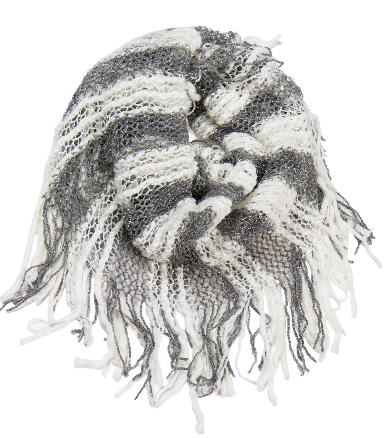 AOLOSHOW Winter Crochet Knit Fringe Infinity Loop Scarf, Various Styles & Colors Beige WNL-2582 - E Beige