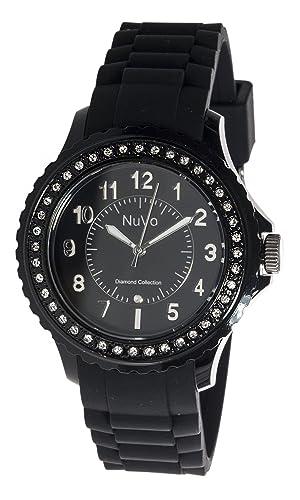 Nuvo - NU160 - Armbanduhr für Damen - Quartz - Analog - Schwarzes Armband aus Silikon - Schwarzes Zi...