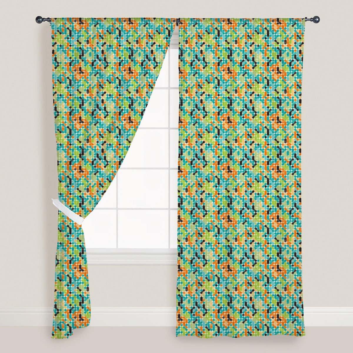 AZ Retro Style Door & Window Curtain Satin 4feet x 6feet; SET OF 3 PCS