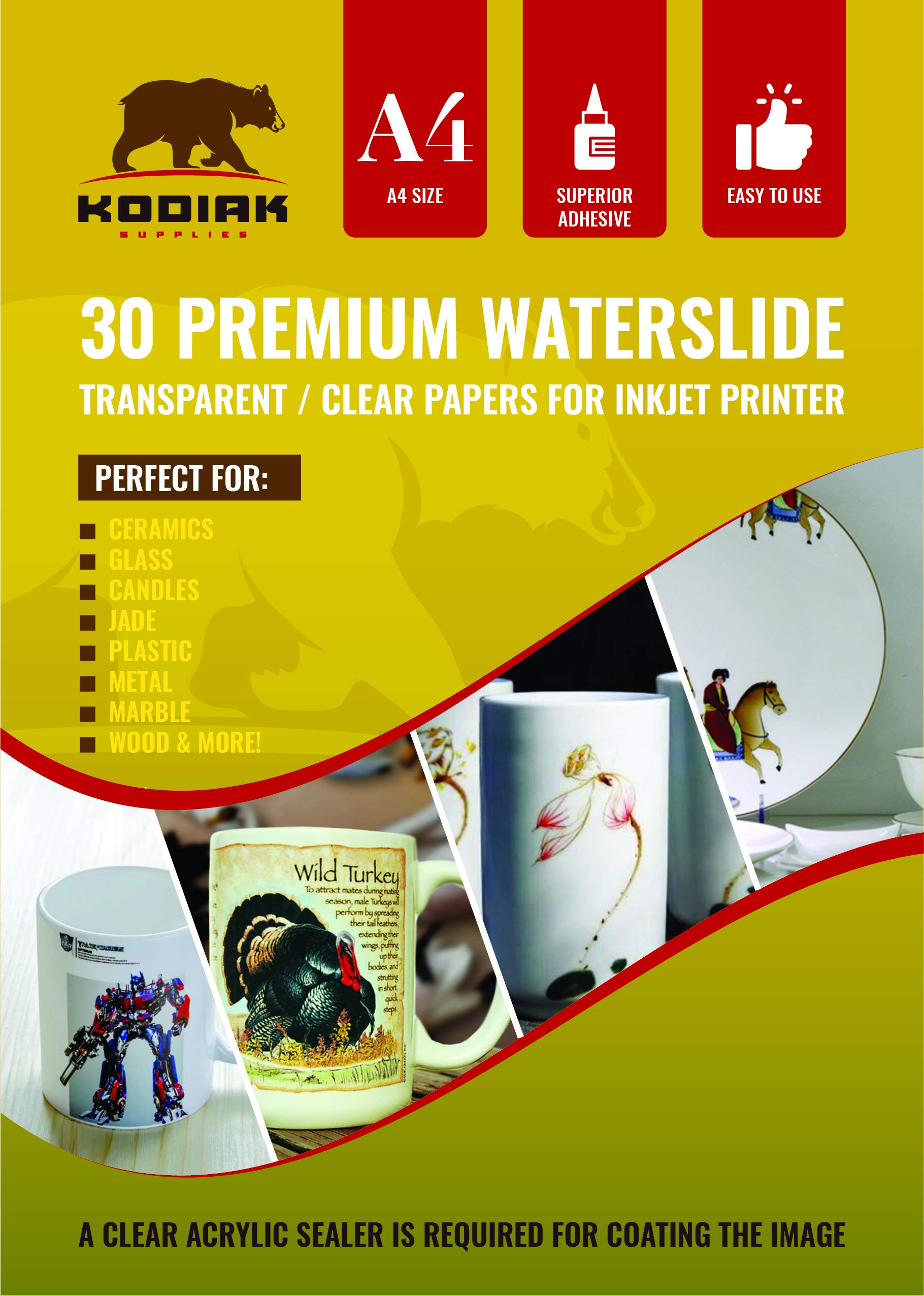 Kodiak Supplies A4 Waterslide Decal Paper INKJET Clear - 30 Sheets - DIY A4 water slide Transfer CLEAR Printable Water Slide Decals A4 30 Sheets