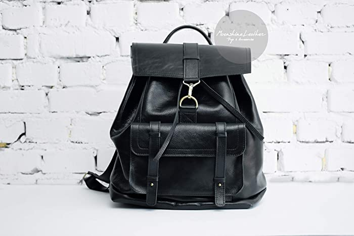 6cdb0a971f Amazon.com  BLACK backpack Leather backpack Travel backpack Large backpack  Womens backpack Mens backpack Hipster backpack Minimalist backpack purse   ...