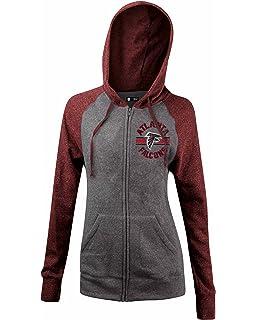 74ea841bbb6 A-Team Apparel NFL Ladies Tri Blend Fleece Zip Up Hoodie with Contrast  Sleeves and