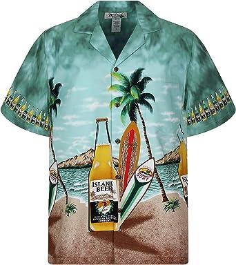 KYs | Original Camisa Hawaiana | Caballeros | S - 6XL | Manga Corta | Bolsillo Delantero | Estampado Hawaiano | Botellas De Cerveza | Verde: Amazon.es: Ropa y accesorios