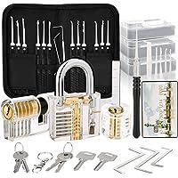 Dietrich Lockpicking-set, 30 stuks, met 3 transparant hangslot voor beginners en professionele lockpickers Product Name