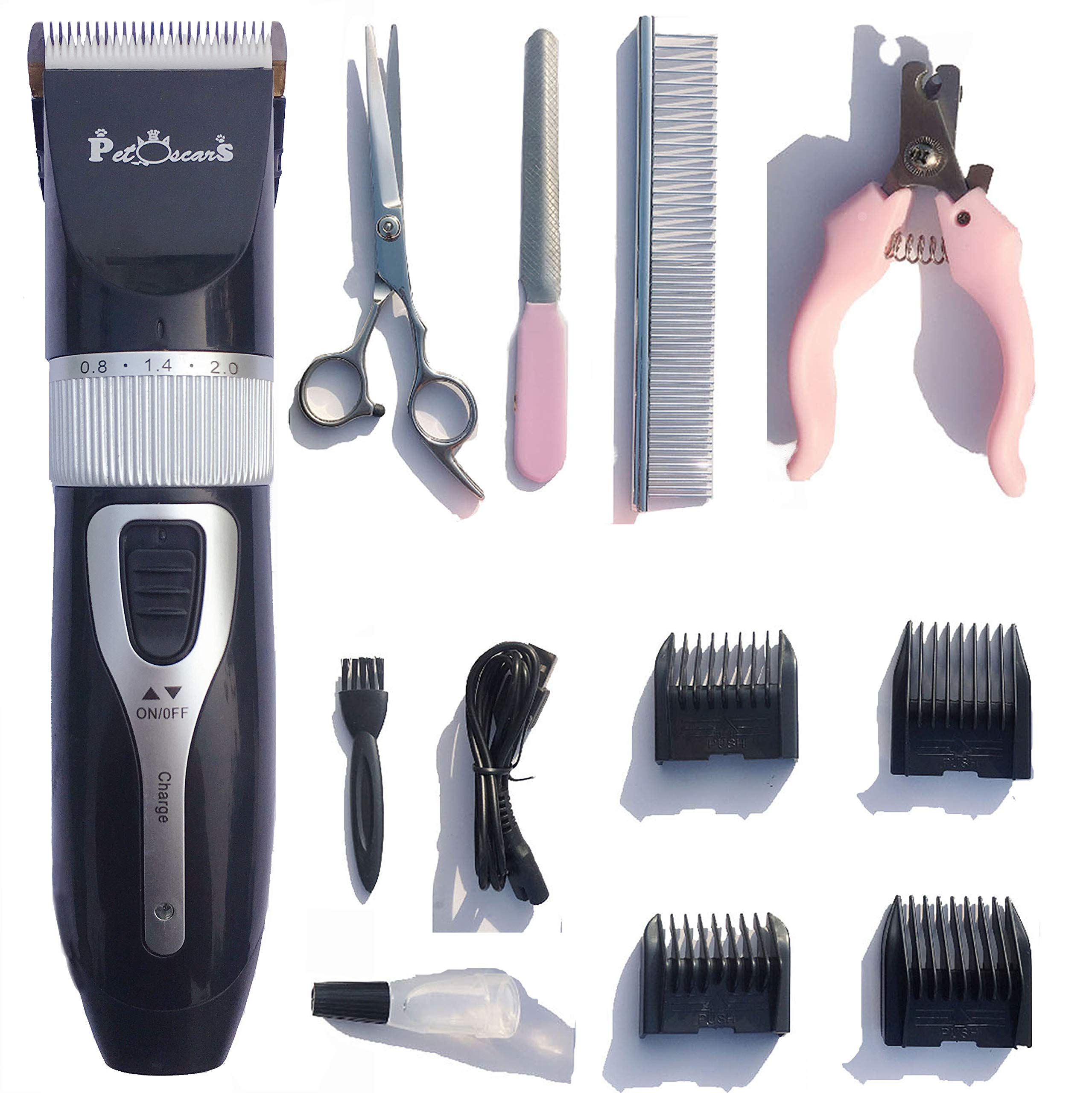 PetOscars Dog Grooming Kit Professional - Quiet Electric Clippers, Heavy Duty Shaver, Cordless Hair Shears for Small Dogs, Rabbits and Other Pet (Black)