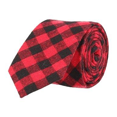 Mr Icone Estrecho Lazo Corbata de tela escocesa negro rojo: Amazon ...
